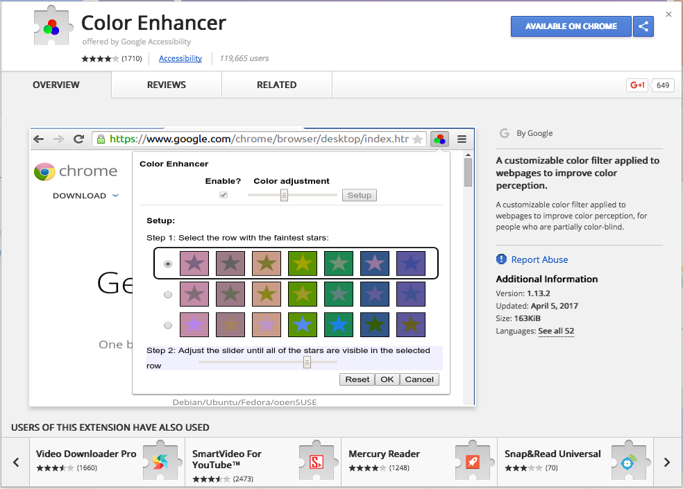 Google Chrome color enhancer